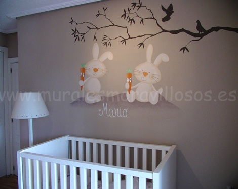 murales infantiles conejos