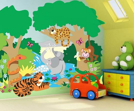 Murales para habitaciones infantiles for Dibujos para decorar paredes