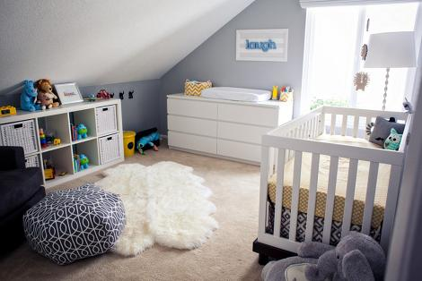 Habitación bebé en gris y blanco