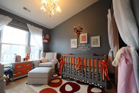 Habitación del bebé gris oscuro
