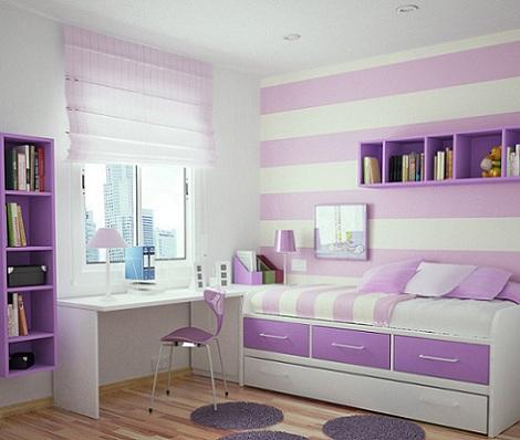 Habitaciones juveniles para chica - Dormitorios pintados a rayas ...