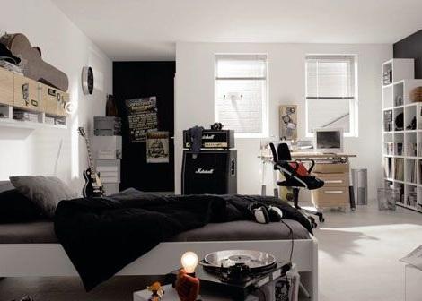 habitacion juvenil chico blanco negro