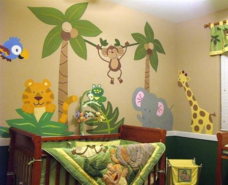Como pintar animales de la selva en cuartos de bebe imagui - Dibujos para habitaciones de bebes ...