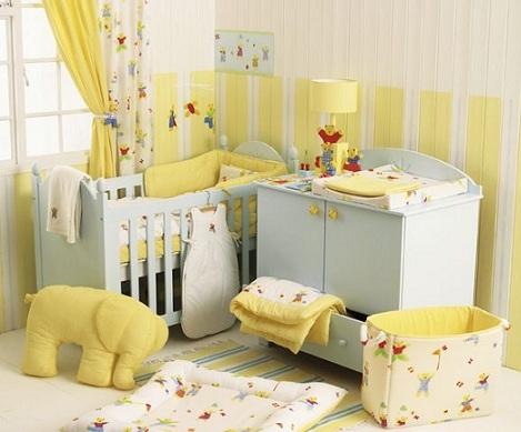 pintar habitacion bebe amarillo madera