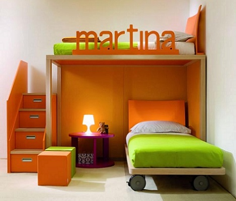 Habitaciones infantiles a todo color - Habitaciones color naranja ...