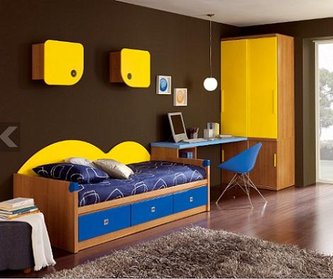 ideas habitaciones juveniles amarillo azul