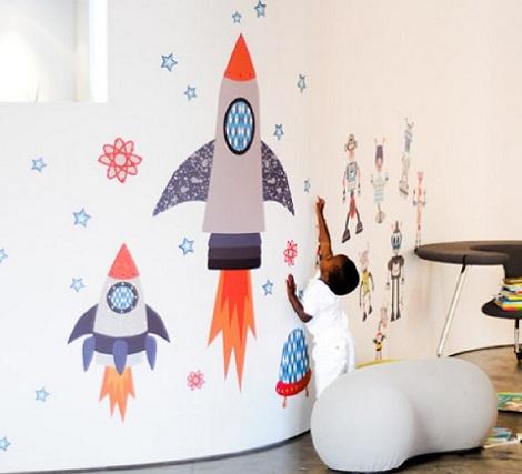 vinilos habitacion bebe cohetes