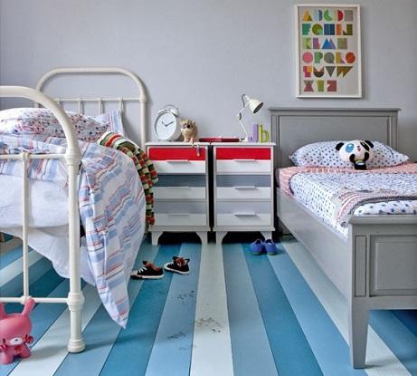 decoracion infantil habitaciones suelo rayas