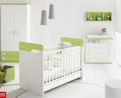 habitacion bebe blanca verde