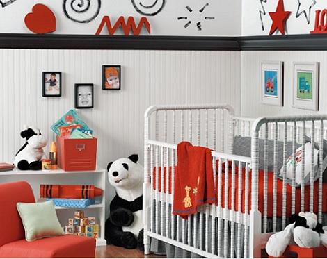 imagenes habitaciones bebe modernas blanco rojo