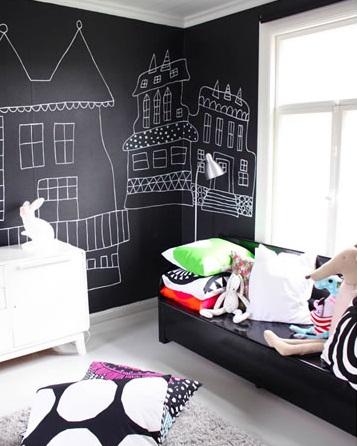 imagenes habitaciones bebe modernas pizarra