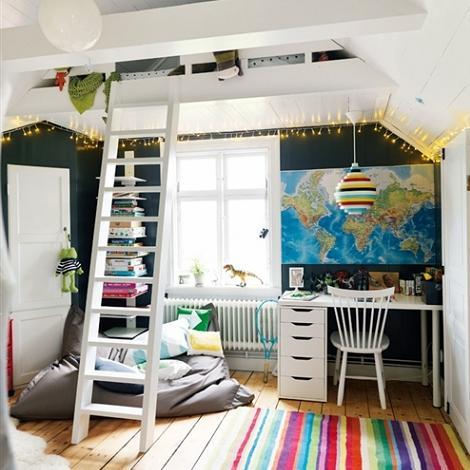 Habitaciones infantiles de estilo n rdico for Camas en altura juveniles