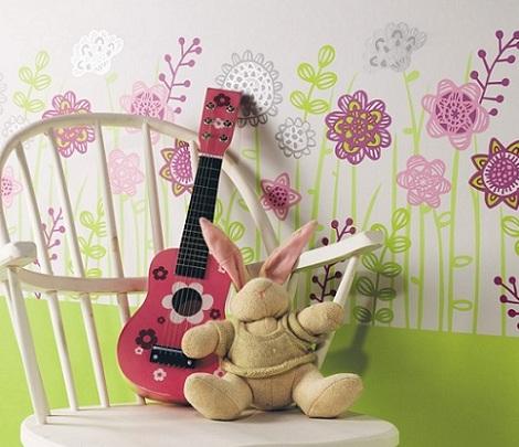 papel infantil flores