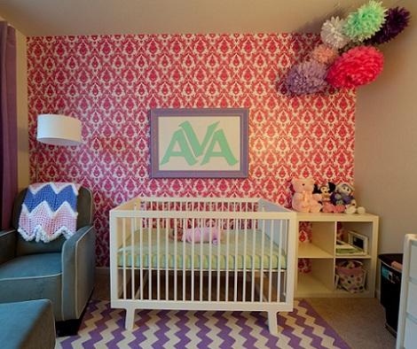 habitación bebé rosa papel
