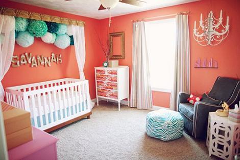 Habitaci n del beb naranja - Habitacion bebe moderna ...