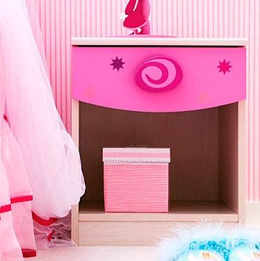 mesita noche niños rosa niña