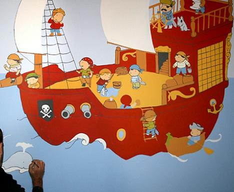 mural infantil barco