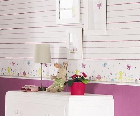 Papel pintado infantil a rayas - Papel pintado habitacion infantil nina ...