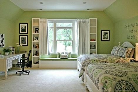 Dormitorio chicas en verde