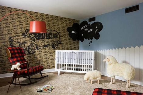 Habitación bebé moderna rústica