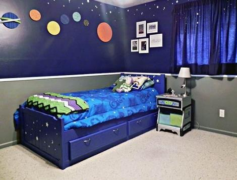 Habitación infantil del espacio