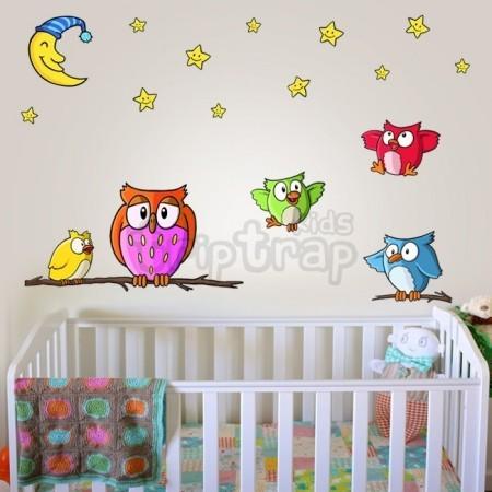 vinilos buho habitacion bebe colores