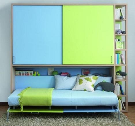 habitaciones infantiles pequeñas azul