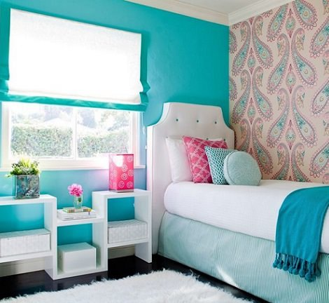 habitación juvenil chica turquesa