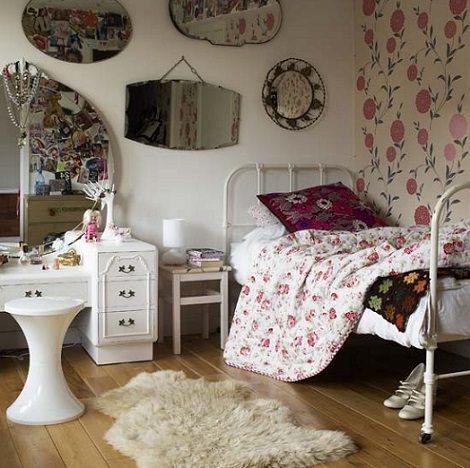 dormitorio juvenil vintage espejos