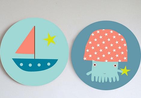 cuadros habitacion infantil barco