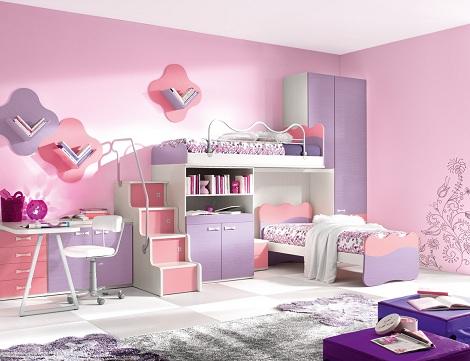 habitaciones literas tren rosa