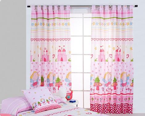 cortinas infantiles rosas dibujos