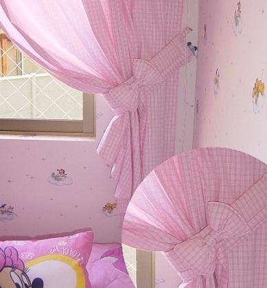 cortinas infantiles rosas vichy