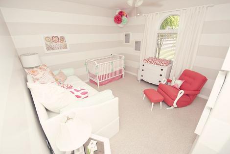 Habitación de bebé en gris y rosa