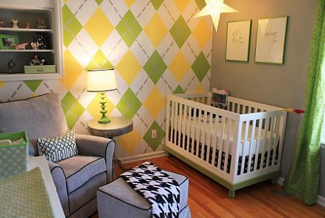 Habitación de bebé a rombos