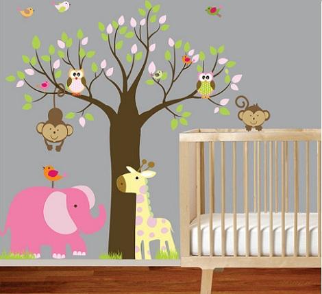 habitacion bebe vinilo buhos elefante