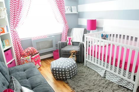 Habitación gris para niña