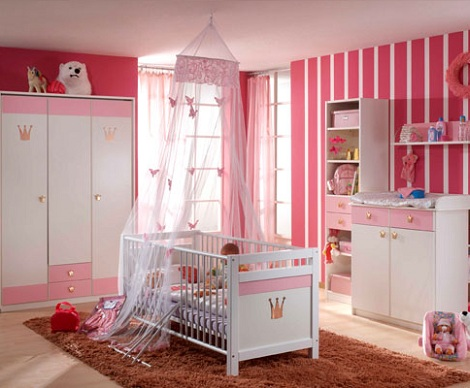 papel pintado habitacion bebe rayas rosa