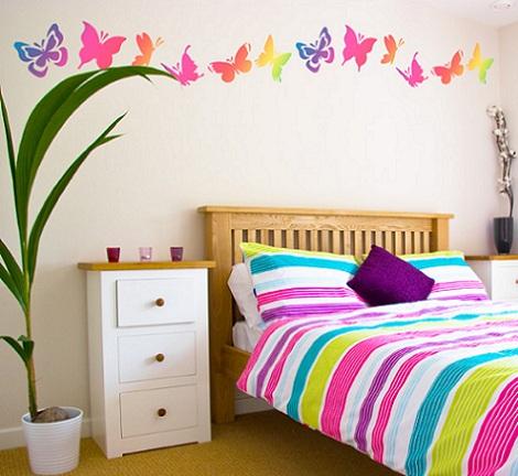 vinilos habitacion juvenil mariposas colores