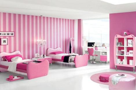 habitacion infantil barbie camas gemelas