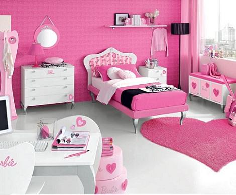 habitacion infantil barbie corazones