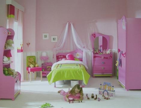 habitacion infantil barbie verde
