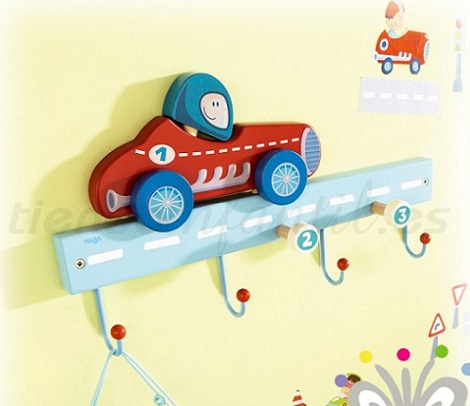 percheros infantiles pared coche