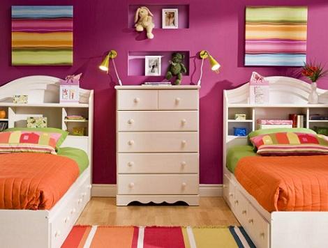 camas gemelas ninos colores