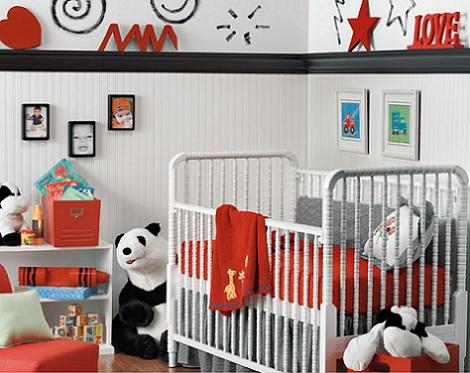 fotos habitacion bebe blanco rojo