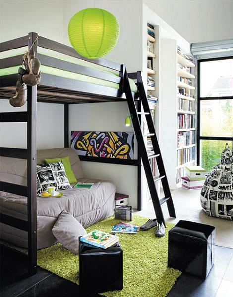 Dormitorio juvenil cama alta