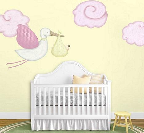 murales habitacion bebe cigüeña
