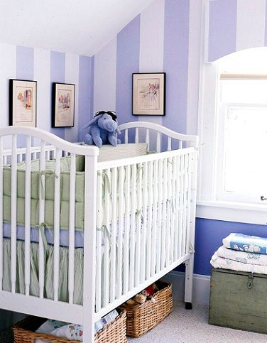 papel habitacion bebe rayas lila