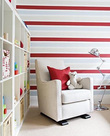papel habitacion bebe rayas rojas