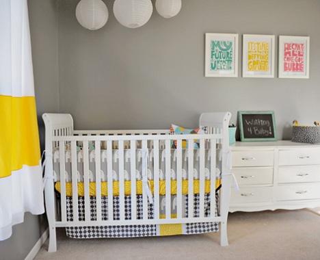 decorar habitación bebé moderna amarilla